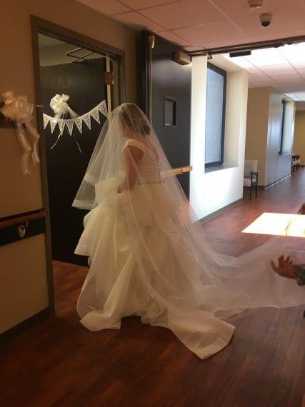 bride walking into hospital room