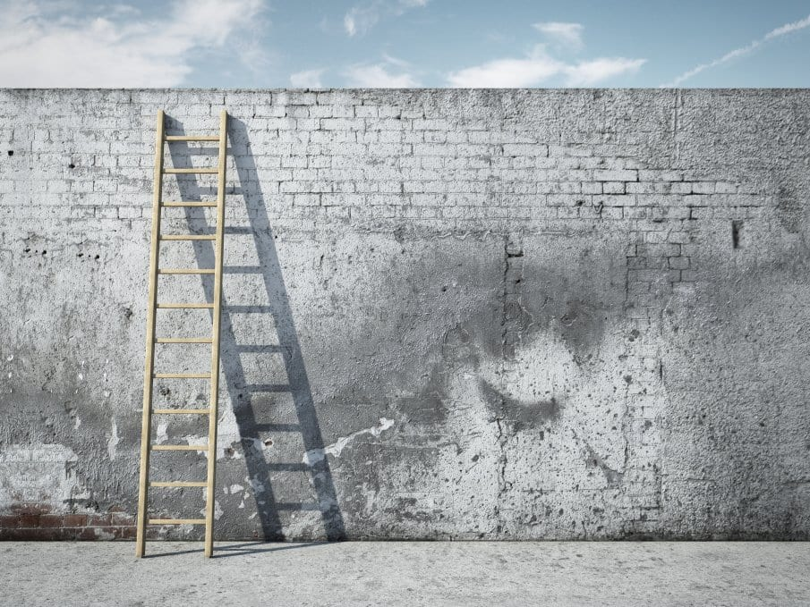ladder on gray brick wall